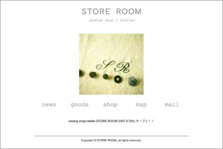 STORE ROOMのサイトのスクリーンショット